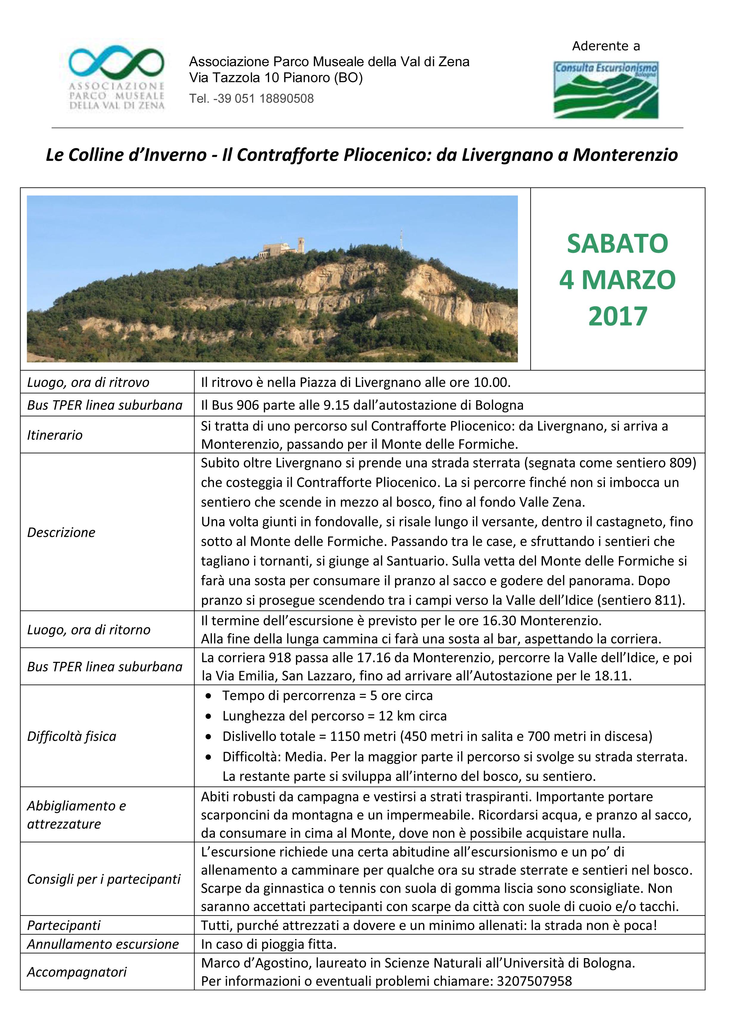 4 Marzo 2017 Il contrafforte Pliocenico da Livergnano a Monterenzio
